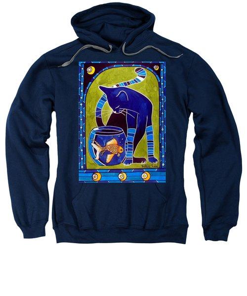Blue Cat With Goldfish Sweatshirt by Dora Hathazi Mendes