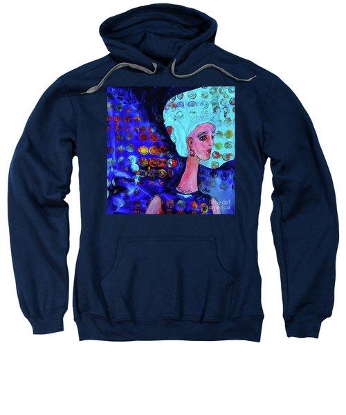 Blue Haired Girl On Windy Day Sweatshirt
