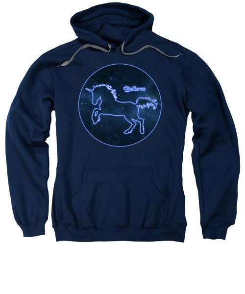 Blue Neon Light Unicorn Text Believe Sweatshirt by Elaine Plesser