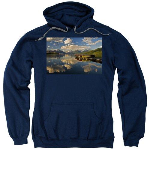 Boats At Lake Mcdonald Sweatshirt