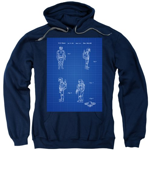 Boba Fett Toy Patent 1982 In Blue Print Sweatshirt