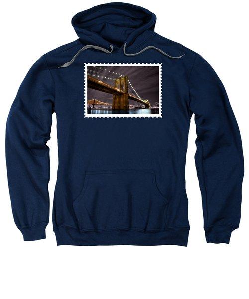 Brooklyn Bridge At Night New York City Sweatshirt by Elaine Plesser