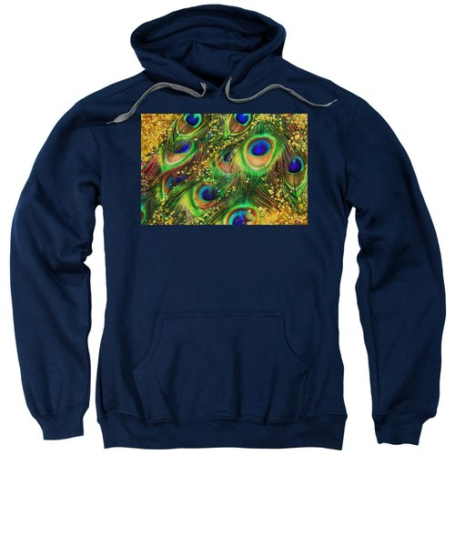 Buried Treasure, Fantasy Peacock Feathers Laden With Gold Sweatshirt