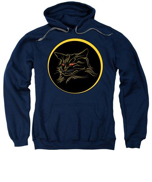 Calligraphic Black Cat And Moon Sweatshirt