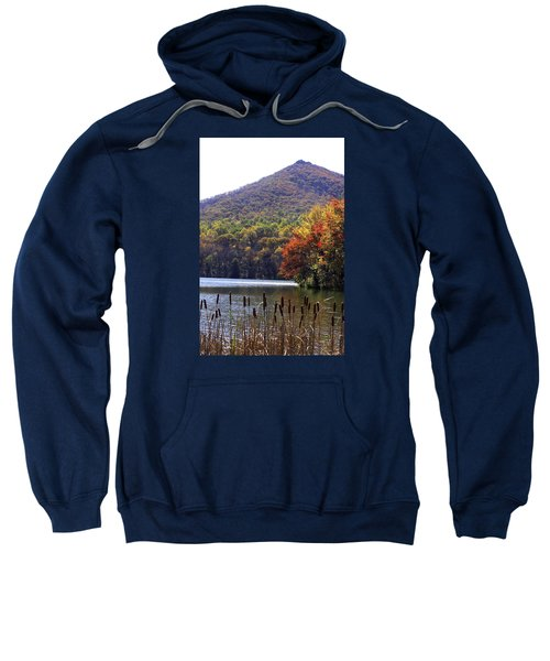 Cattails By Lake With Sharp Top In Background Sweatshirt