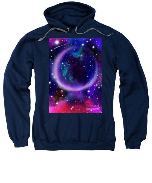 Celestial Crescent Moon Cat  Sweatshirt