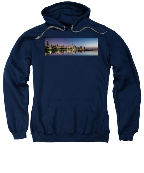 Chicago Skyline At Dawn With A Panoramic Crop  Sweatshirt