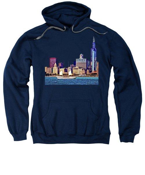 Chicago Il - Schooner Against Chicago Skyline Sweatshirt