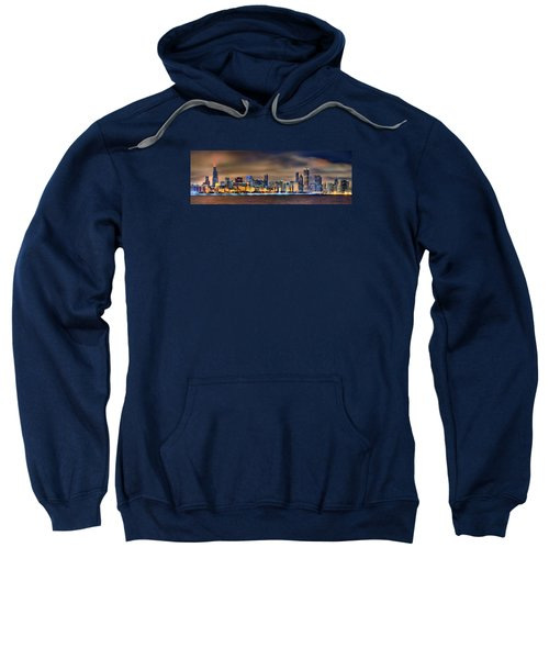 Chicago Skyline At Night Panorama Color 1 To 3 Ratio Sweatshirt by Jon Holiday