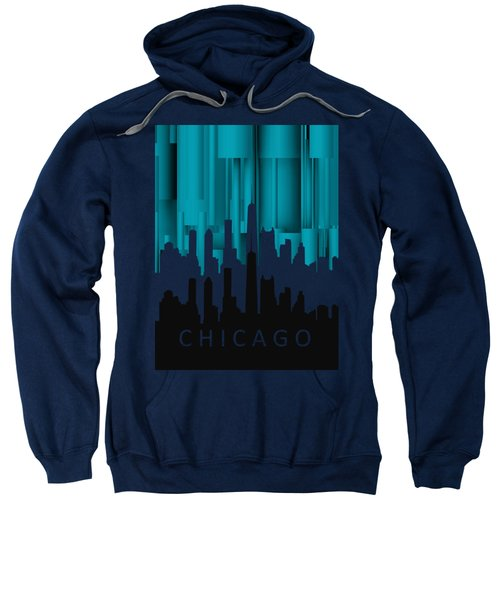 Chicago Turqoise Vertical In Negetive Sweatshirt by Alberto RuiZ
