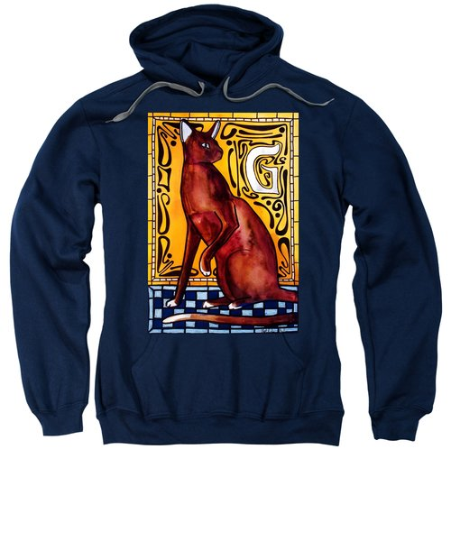 Chocolate Delight - Havana Brown Cat - Cat Art By Dora Hathazi Mendes Sweatshirt