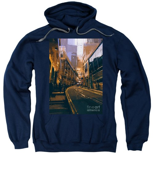 Sweatshirt featuring the painting City Street by Tithi Luadthong