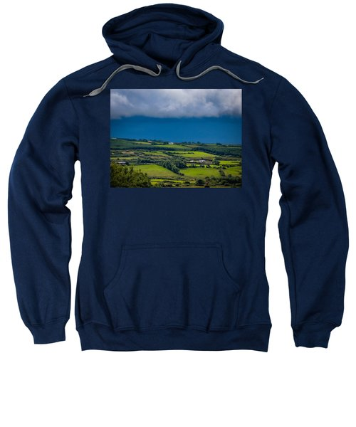 Sweatshirt featuring the photograph Clouds Over Shimmering Green Irish Countryside by James Truett