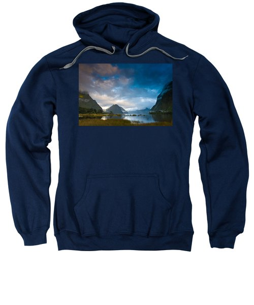 Cloudy Morning At Milford Sound At Sunrise Sweatshirt