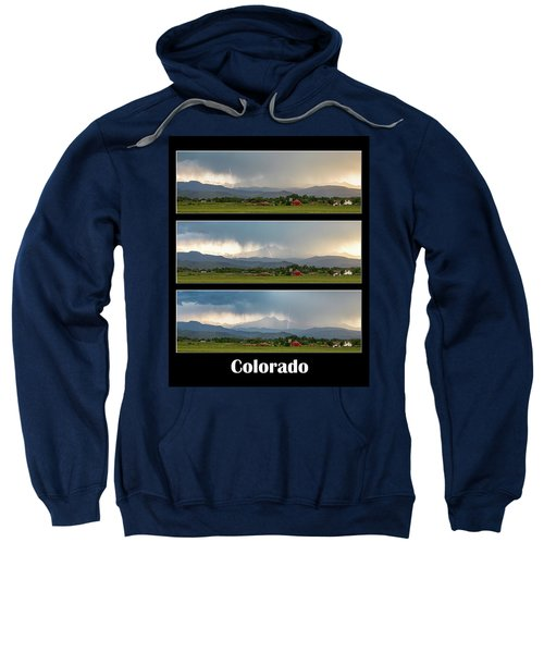 Sweatshirt featuring the photograph Colorado Front Range Longs Peak Lightning And Rain Poster by James BO Insogna