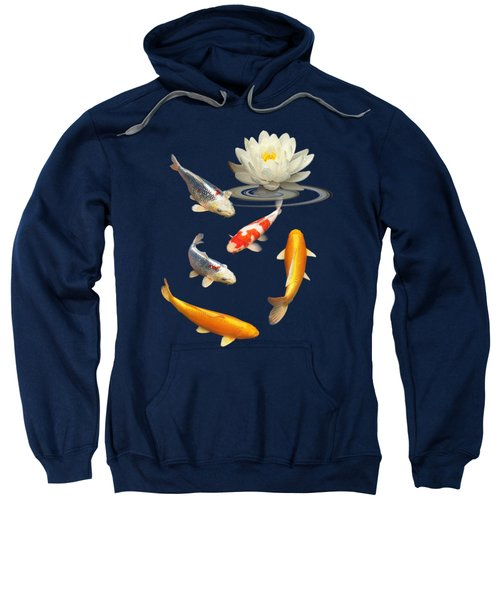 Colorful Koi With Water Lily Sweatshirt by Gill Billington