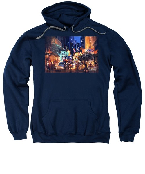 Sweatshirt featuring the painting Colorful Night Street by Tithi Luadthong