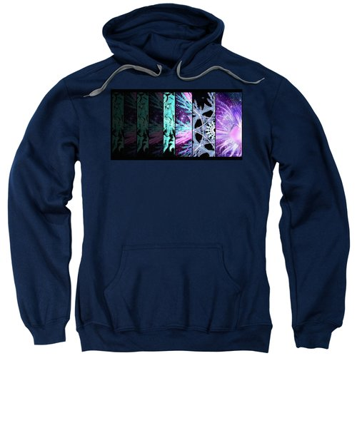 Sweatshirt featuring the mixed media Cosmic Collage Mosaic Left Side by Shawn Dall