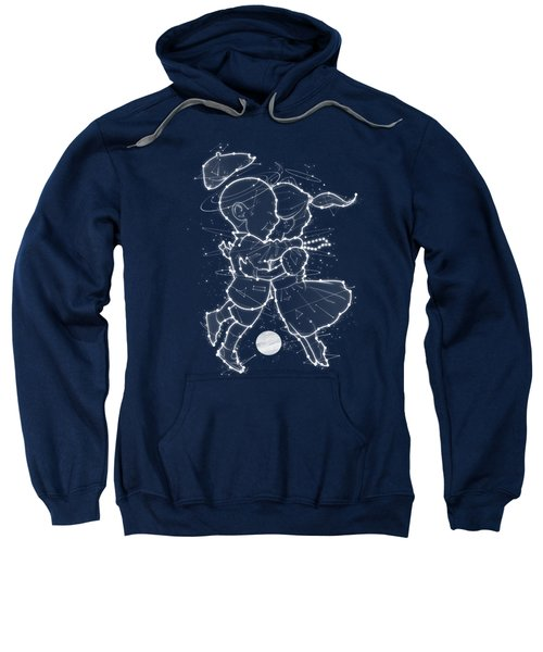 Cosmo And Celeste Colorful Cosmological Night Sky Couple In Love Ice Blue  Sweatshirt