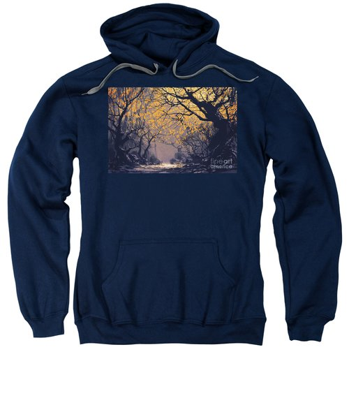 Sweatshirt featuring the painting Dark Forest by Tithi Luadthong