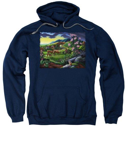 Deer Chipmunk Summer Appalachian Folk Art - Rural Country Farm Landscape - Americana  Sweatshirt by Walt Curlee