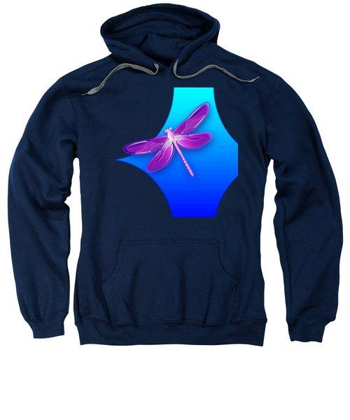 Dragonfly Pink On Blue Sweatshirt