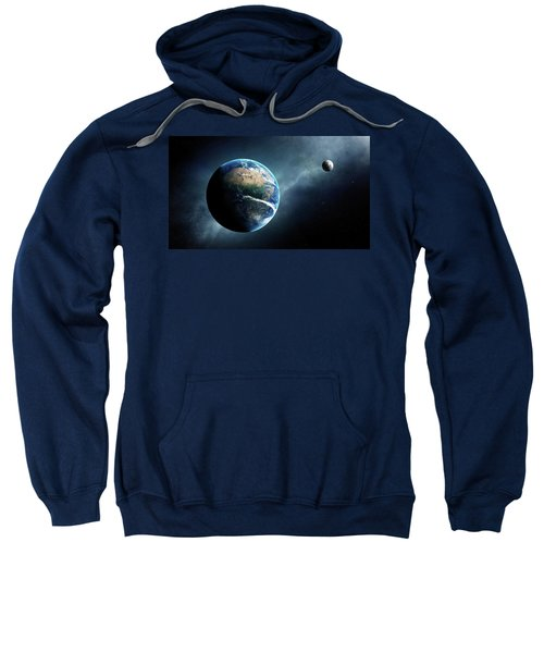 Earth And Moon Space View Sweatshirt