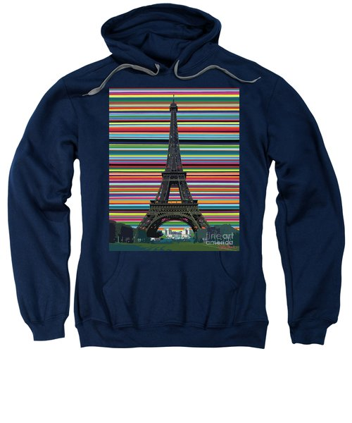 Sweatshirt featuring the painting Eiffel Tower With Lines by Carla Bank