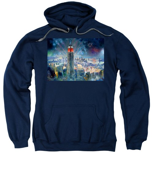 Empire State Building In 4th Of July Sweatshirt by Ylli Haruni