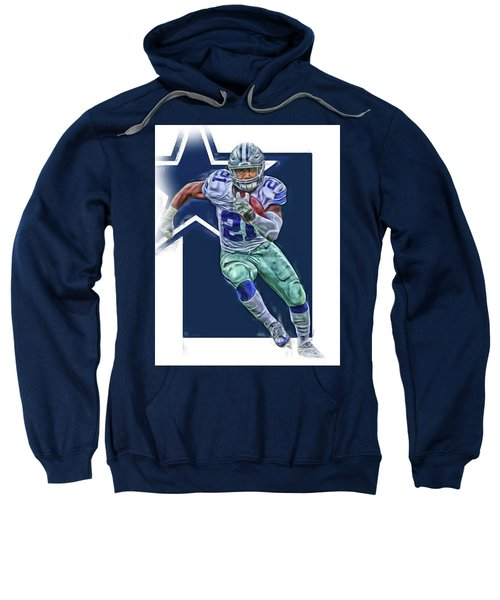 Ezekiel Elliott Dallas Cowboys Oil Art Series 3 Sweatshirt