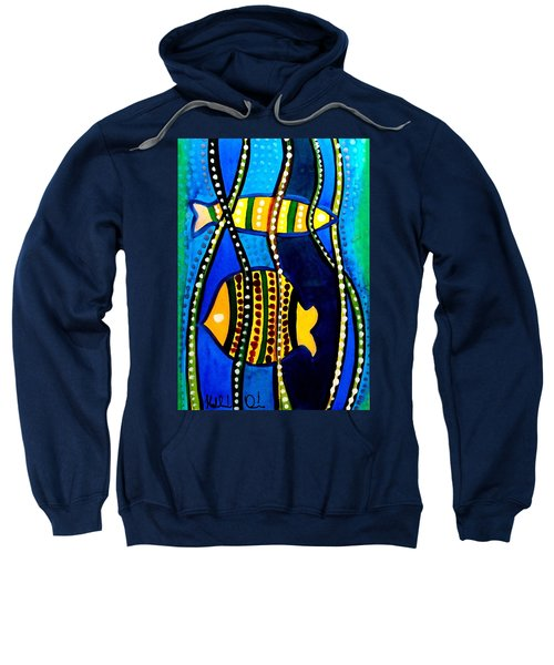 Sweatshirt featuring the painting Fishes With Seaweed - Art By Dora Hathazi Mendes by Dora Hathazi Mendes