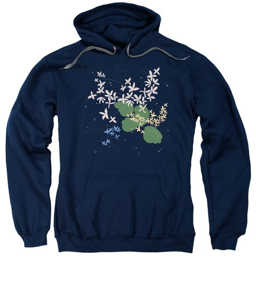 Flowers On A Dark Blue Sweatshirt