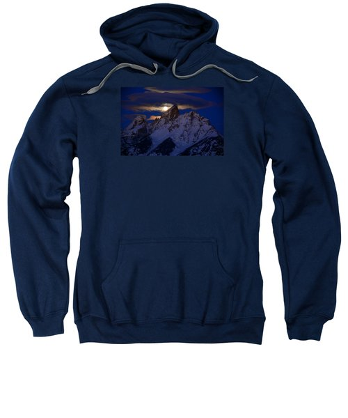 Full Moon Sets Over The Grand Teton Sweatshirt