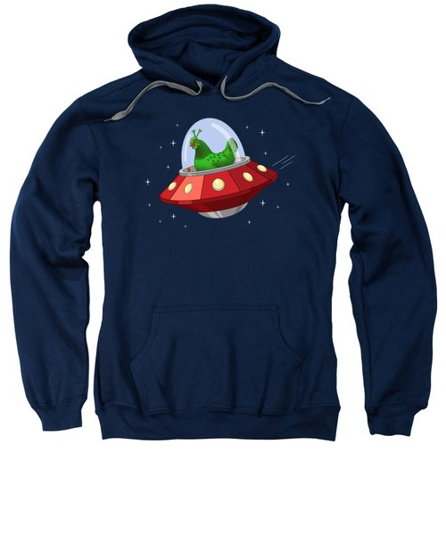 Funny Green Alien Martian Chicken In Flying Saucer Sweatshirt