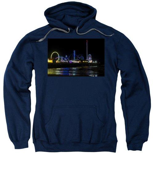 Galveston Island Historic Pleasure Pier At Night Sweatshirt