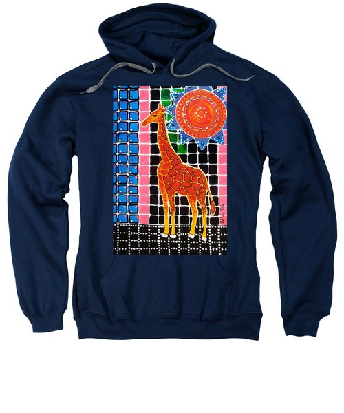 Sweatshirt featuring the painting Giraffe In The Bathroom - Art By Dora Hathazi Mendes by Dora Hathazi Mendes
