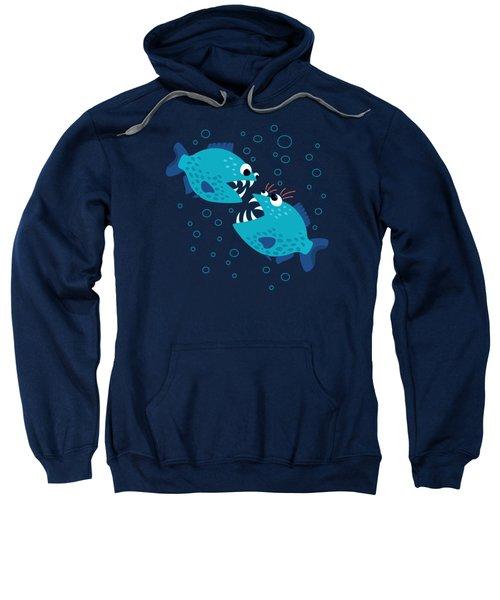 Gossiping Blue Piranha Fish Sweatshirt