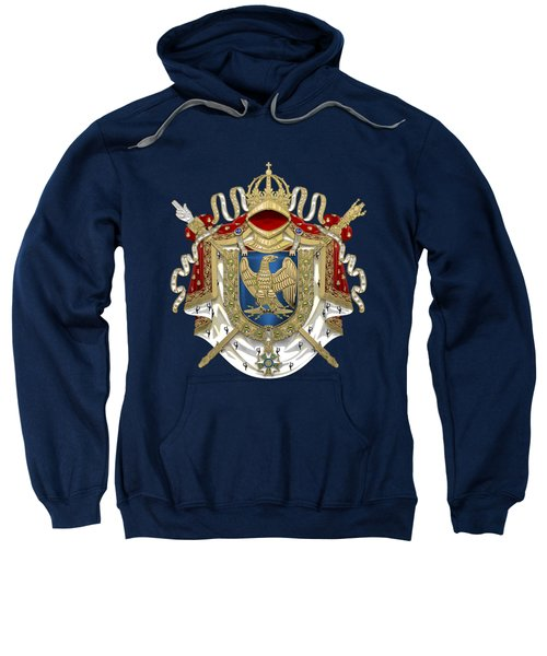 Greater Coat Of Arms Of The First French Empire Over Blue Velvet Sweatshirt