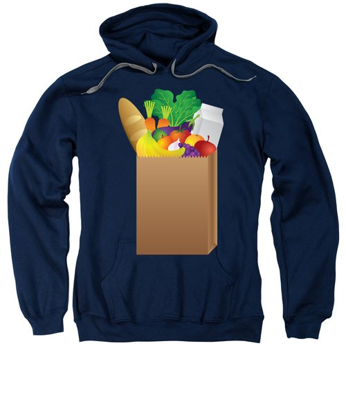 Grocery Paper Bag Of Food Illustration Sweatshirt by Jit Lim