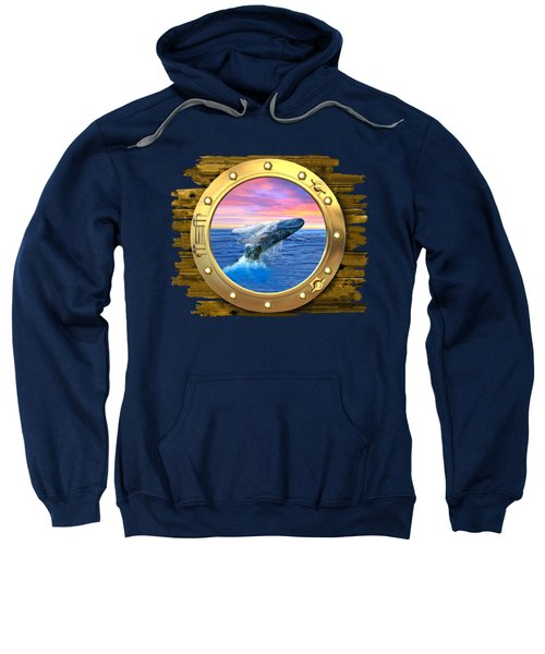 Humpback Whale Breaching At Sunset Sweatshirt by Glenn Holbrook