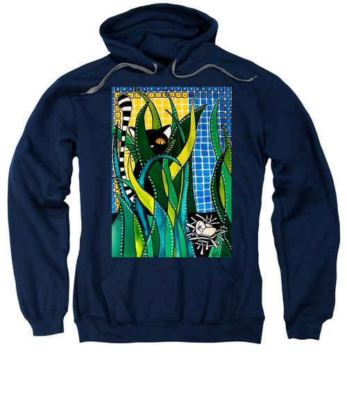 Hunter In Camouflage - Cat Art By Dora Hathazi Mendes Sweatshirt