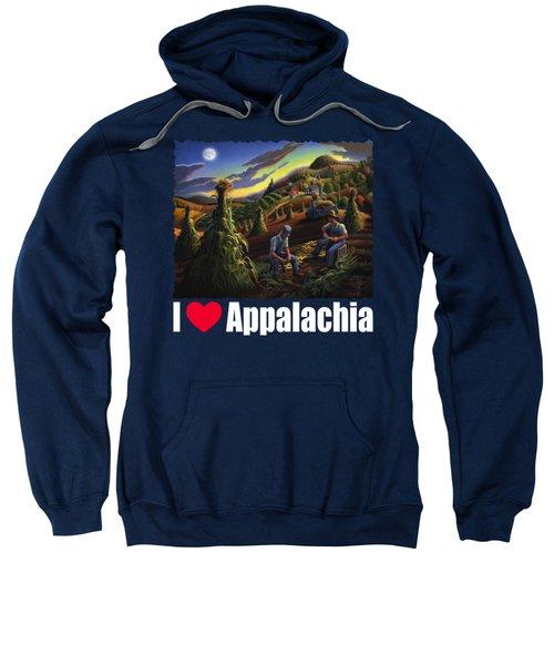 I Love Appalachia T Shirt - Farmers Shucking Corn Til Sunset 2 - Rural Appalachian Landscape Sweatshirt