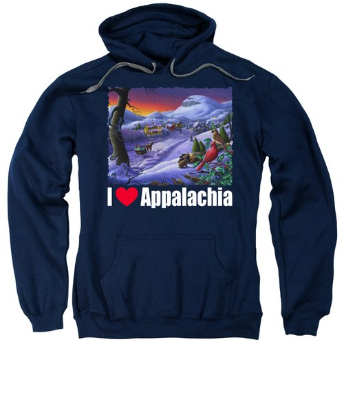 I Love Appalachia T Shirt - Small Town Winter Landscape 2 - Cardinals Sweatshirt