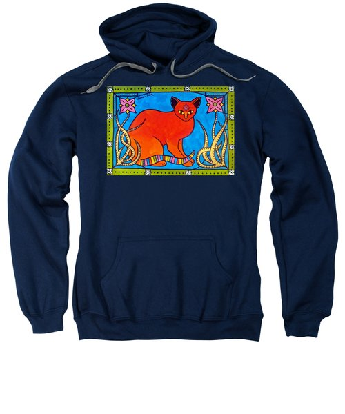 Indian Cat With Lilies Sweatshirt by Dora Hathazi Mendes