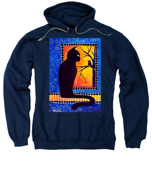 Insomnia - Cat And Owl Art By Dora Hathazi Mendes Sweatshirt