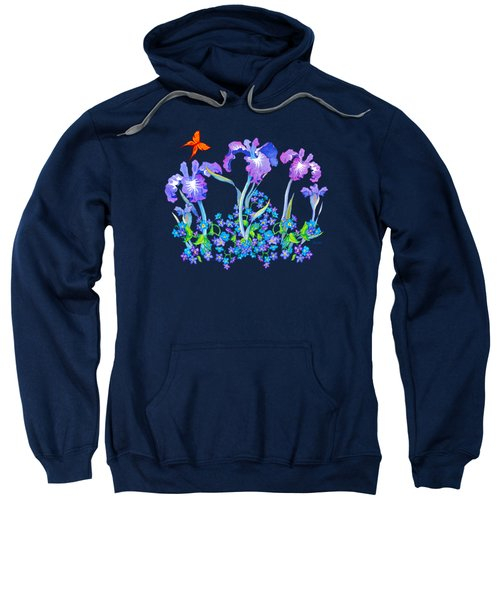 Iris Bouquet With Forget Me Nots Sweatshirt by Teresa Ascone