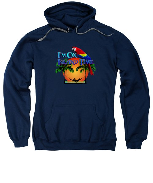 Island Time And Parrot Sweatshirt by Chris MacDonald