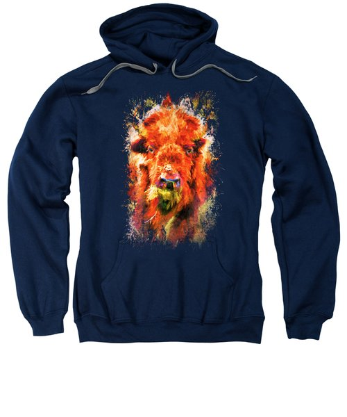 Jazzy Buffalo Colorful Animal Art By Jai Johnson Sweatshirt by Jai Johnson
