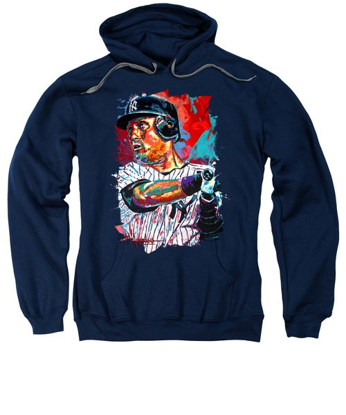 Jeter At Bat Sweatshirt by Maria Arango