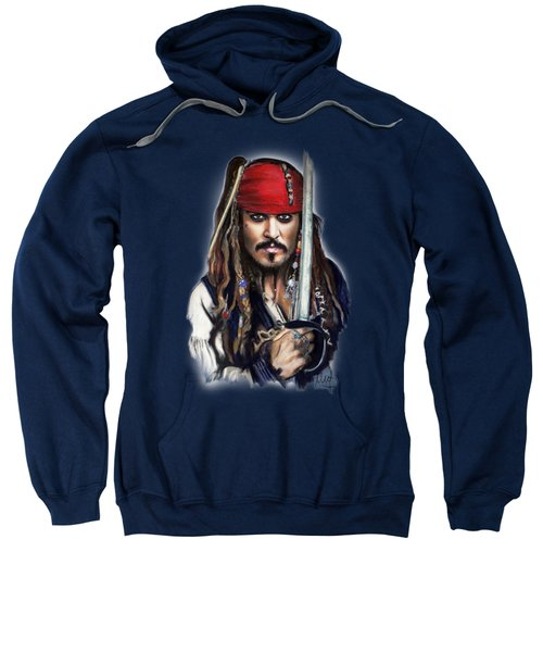 Johnny Depp As Jack Sparrow Sweatshirt by Melanie D